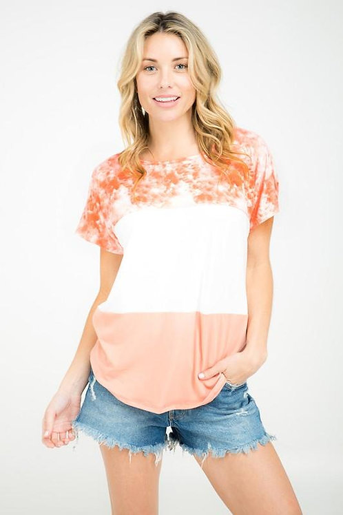 Mauve/Blush Color Block Top Plus Size