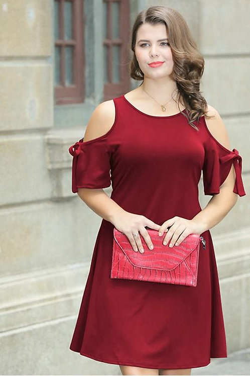Plus Size Red Cold Shoulder Dress