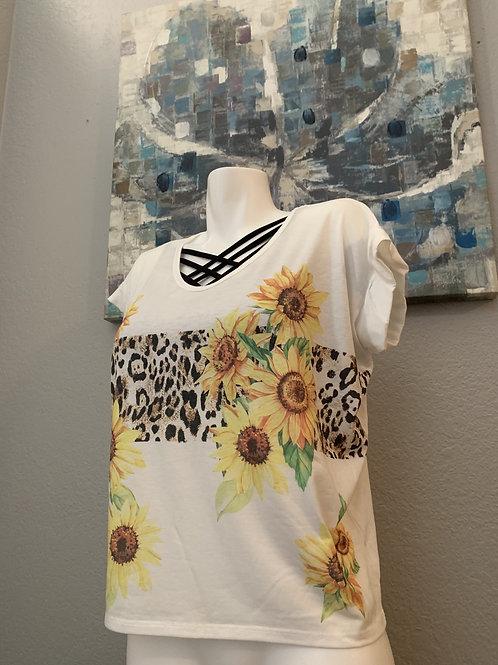 Sunflower and Leopard Short Sleeve V-Neck Top