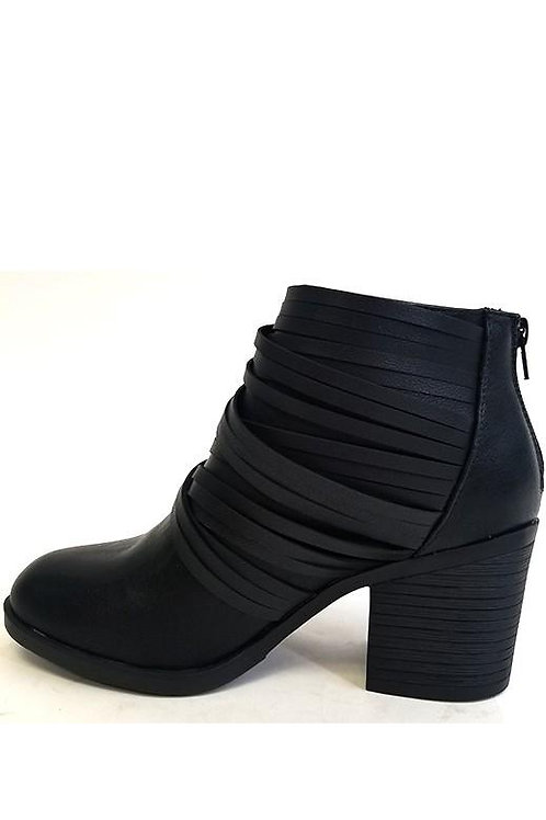 Black Bootie Leather Straps w/ Zip up Back