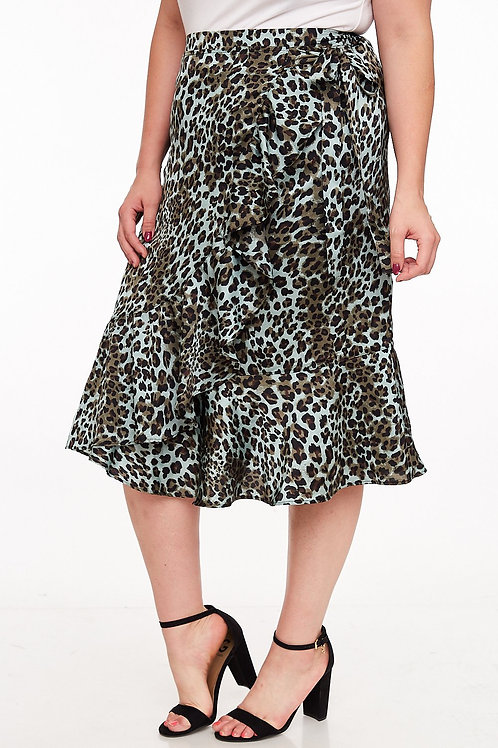 Plus size satin leopard wrap skirt teal and black