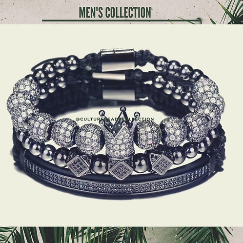 I am Royal King Men's Black Bracelet Set