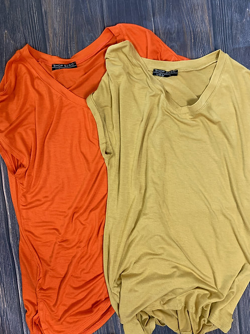 Basic Soft T-Shirt in Orange and Mustard