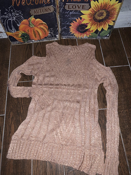 Plus Size Blush Colored Long Sleeve Cold Shoulder Sweater