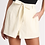 Thumbnail: Plus Size Linen Wrap Shorts in Cream Color