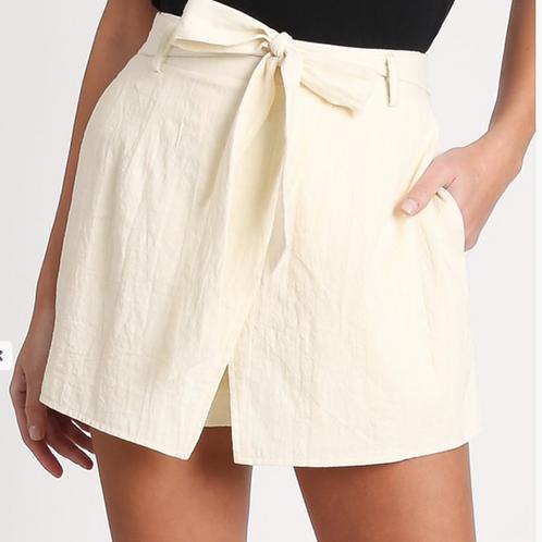 Plus Size Linen Wrap Shorts in Cream Color