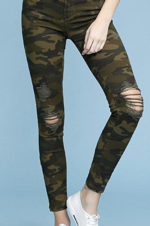 Camo Judy Blue Jeans Distressed Skinny Jean