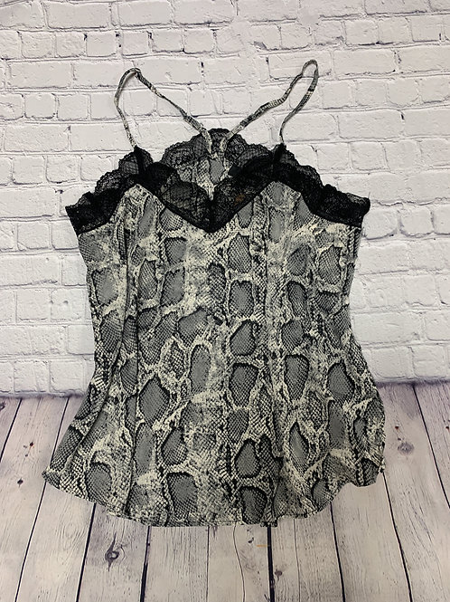 Plus size Snake Print Cami with Lace Trim