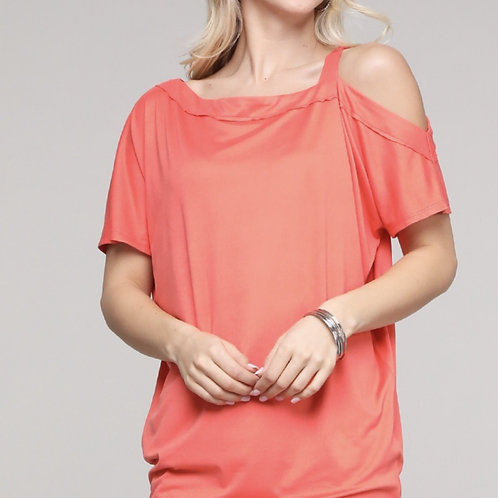Plus size Coral one side cold shoulder top
