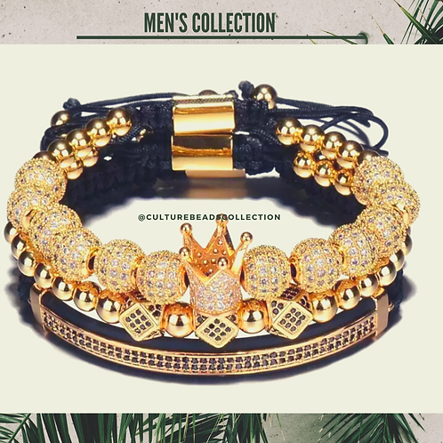 I am Royal King Gold Men's Bracelet Set