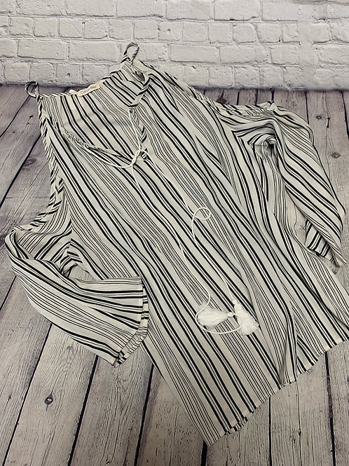 Cold-shoulder Black and White Stripe Blouse with Tie Strings