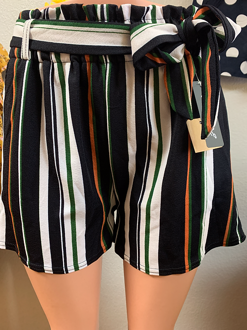 Striped Shorts Black and White with Fine Orange and Green Lines