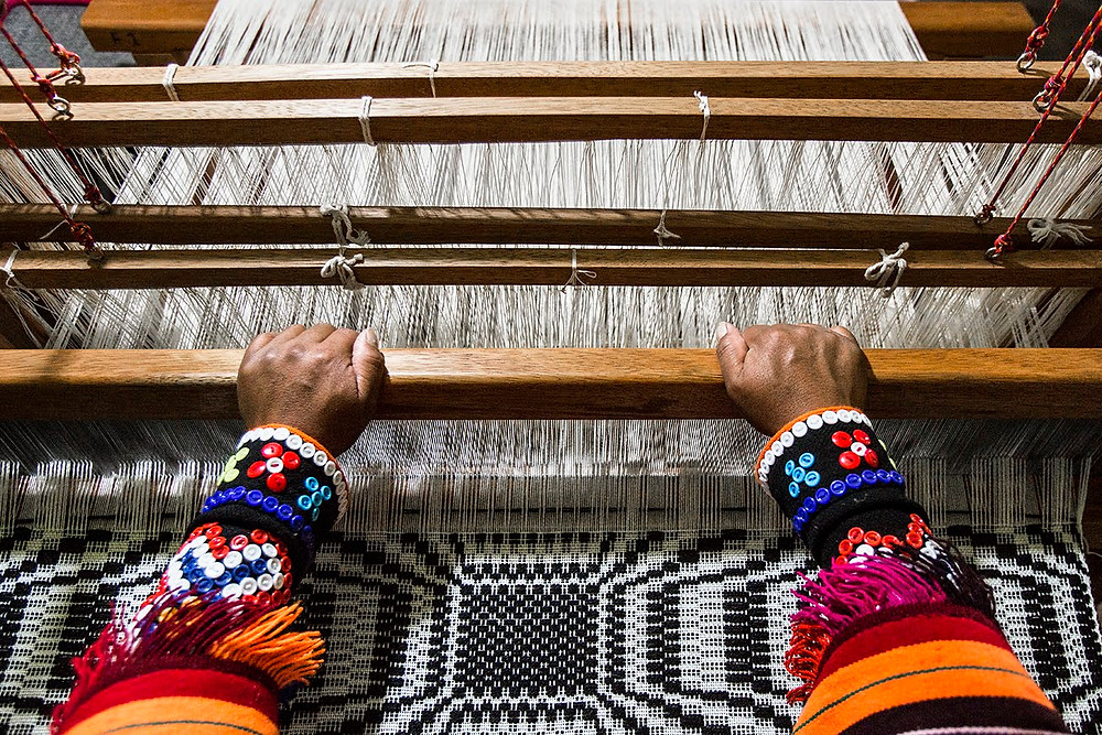 Hand weaving in Peru
