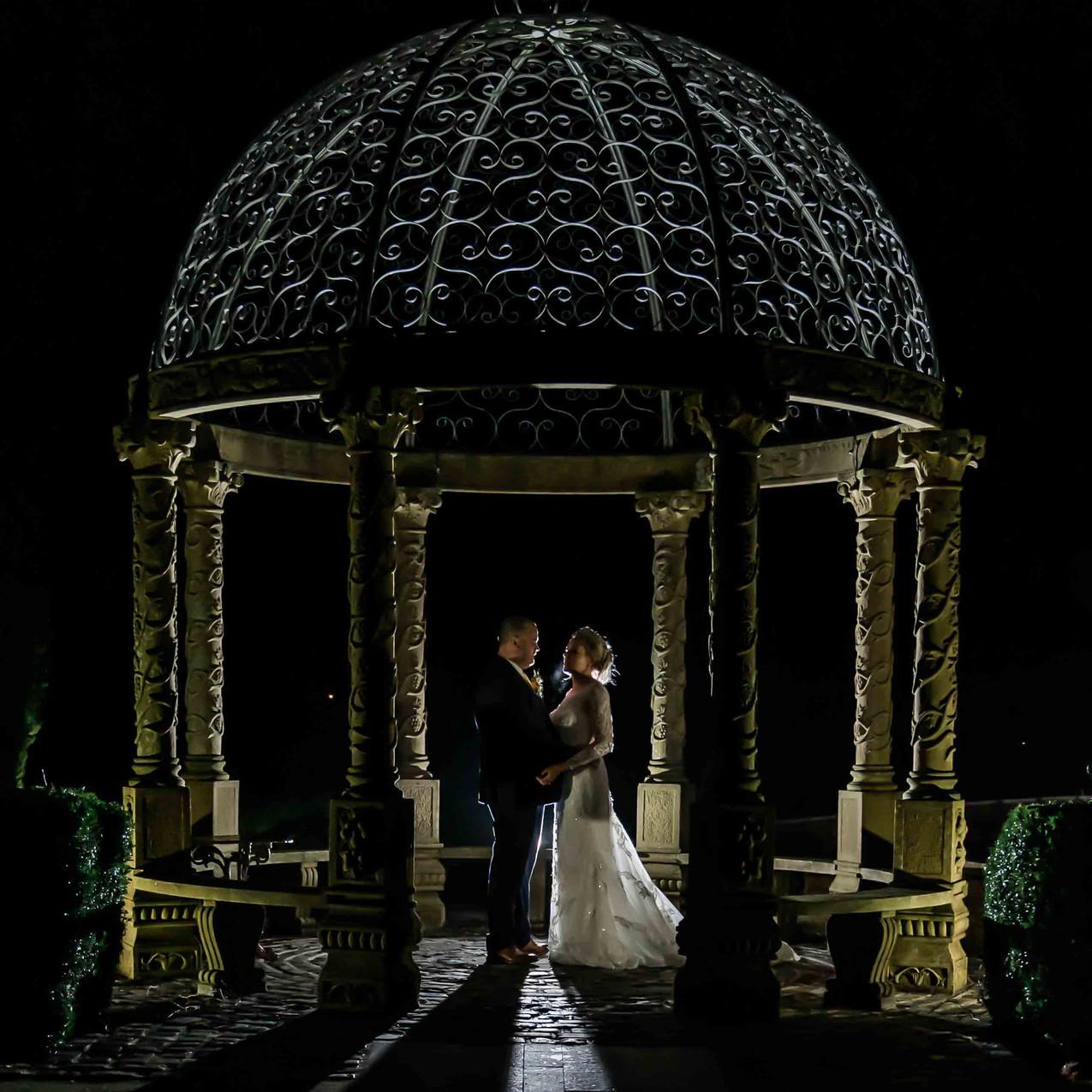 Night wedding portrait