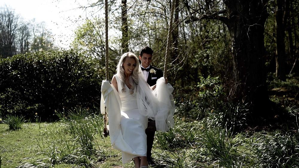 Wedding photo on swing Balbirnie House, Scotland