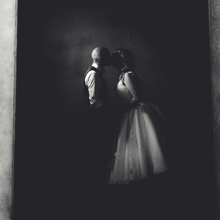 Creative black and white wedding photography