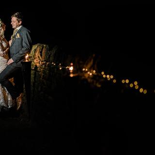 Nighttime off camera flash wedding photograph