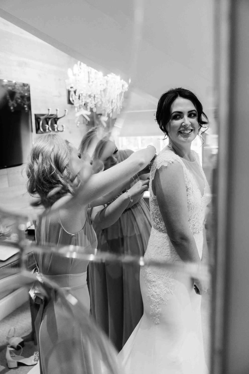 Photo of bride getting ready at Raithwaite Hall Cottages