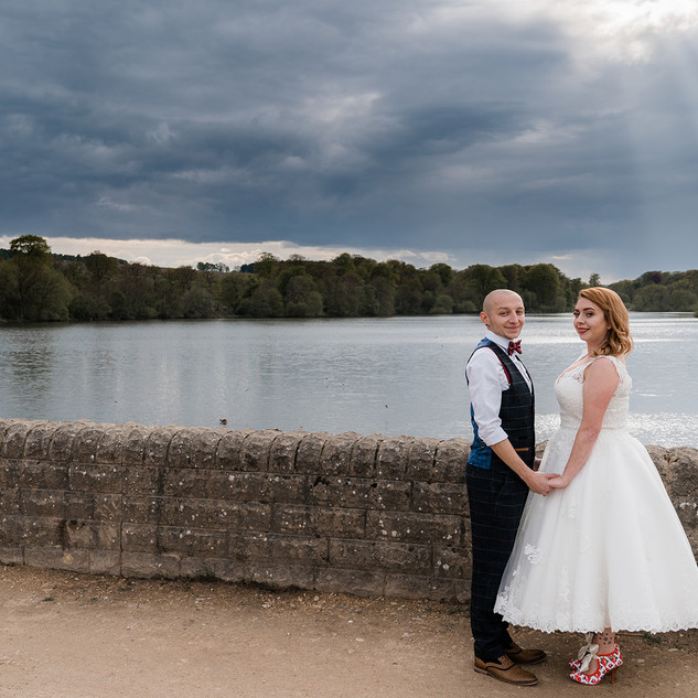 Lakeside wedding photograph at the Yorkshire Sculpture Park