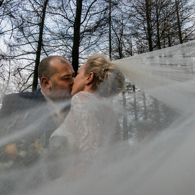 Bridal portraits using veil in the woods on the moors