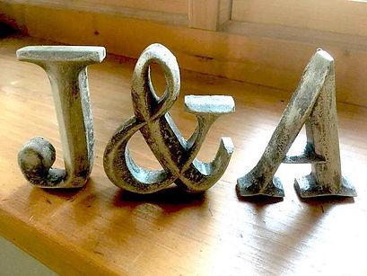 Handmade concrete letters