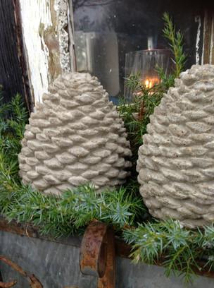 Concrete Pinecone Statues