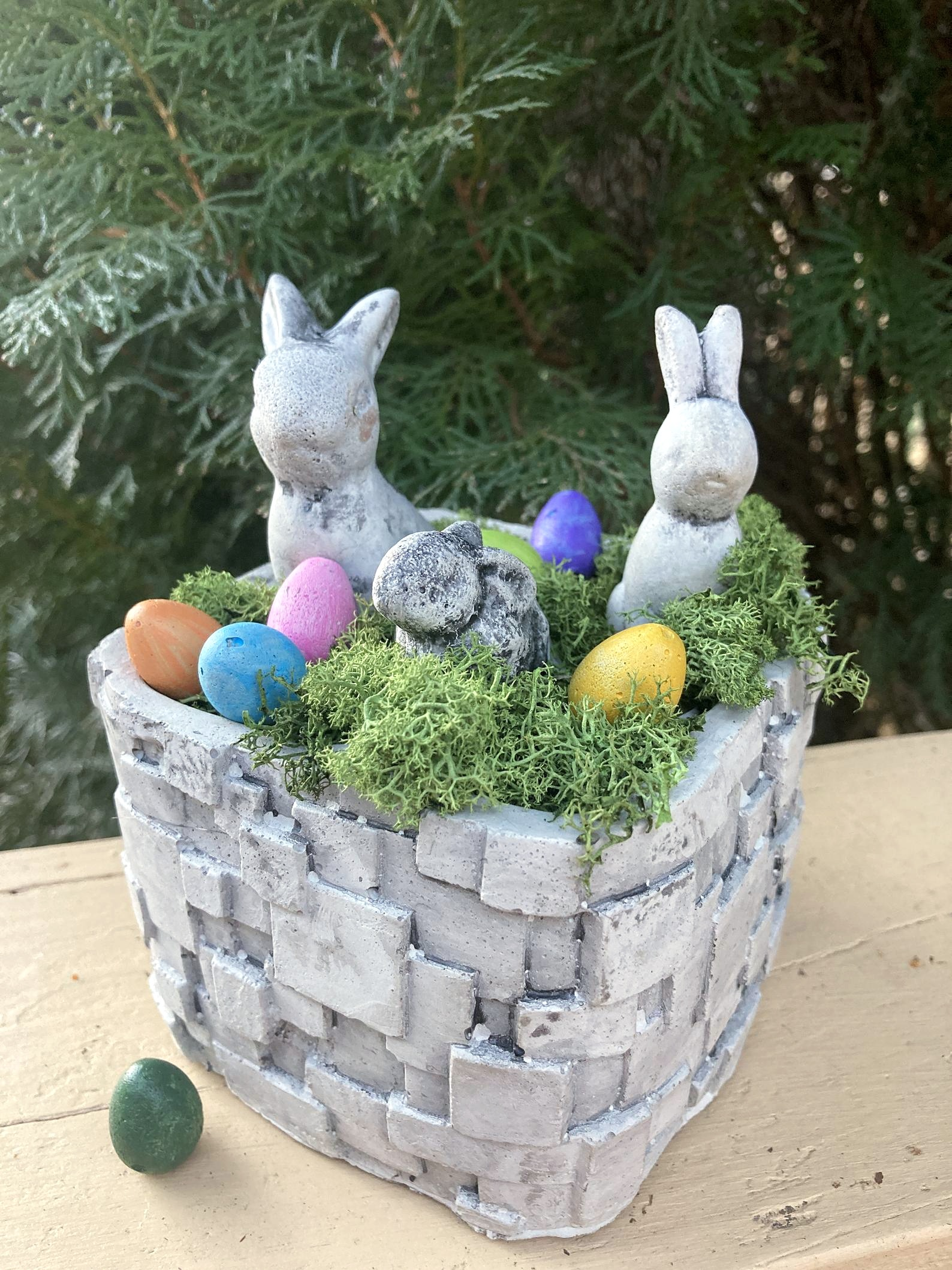 Concrete Wicker Basket Planter with Eggs