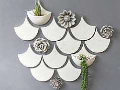 Fish Scales with Flowers Wall Planter Ar