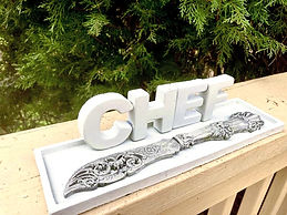 Concrete Tray with Chef Letters and Deco