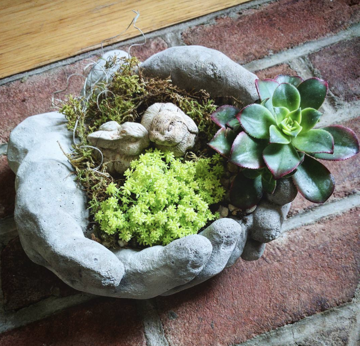 Concrete Hands Tabletop Garden