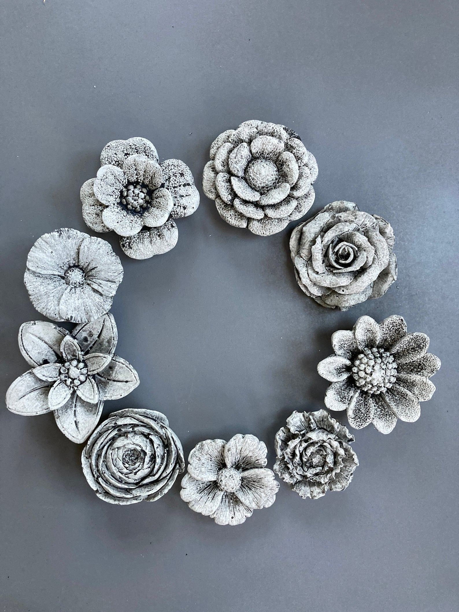 Handmade concrete flowers wall hanging