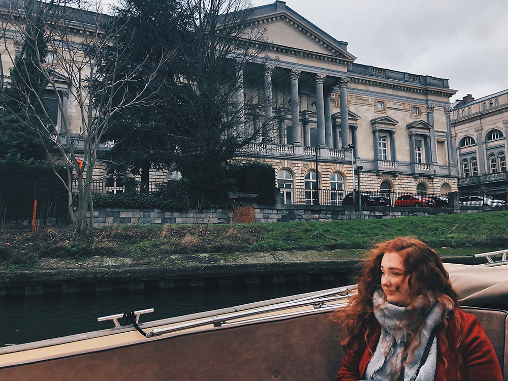 Ann Vos on a boat in Ghent, Belgium