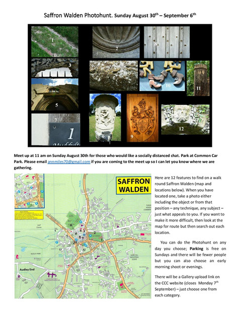 Cambridge Camera Club - Saffron Walden photo hunt Challenge.