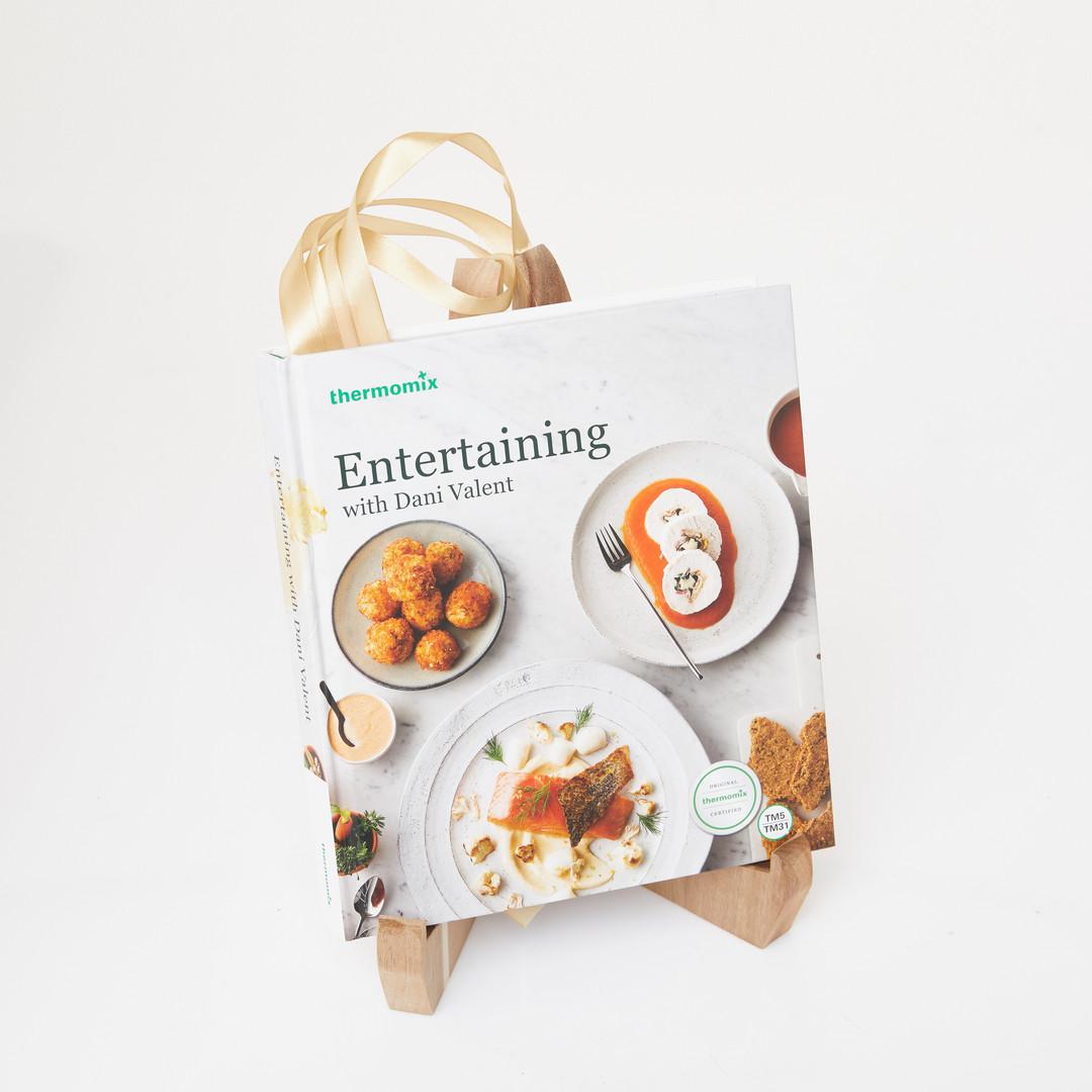 Bookshelf with Dani Valent cookbook on a