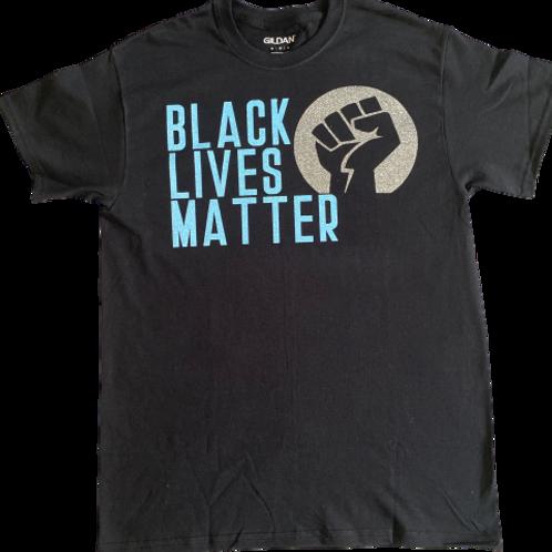 Custom Adult: Glitter Black Lives Matter T-Shirt (Large/ XLarge)