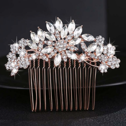 Rose Gold & Crystal Flower Hair Comb | Rhinestone, Crystal Hair Jewelry