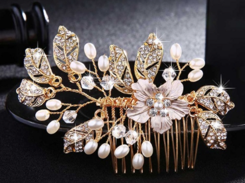 Gold & Silver Flower, Rhinestone, Pearl & Crystal Hair Comb | Gold Bridal Jewel