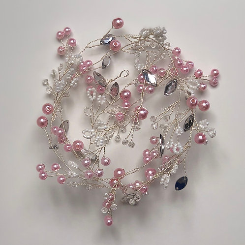 Bohemian Headband | Pink, Silver & Jewel Hair Vine | Wedding & Bridal Hairpiece