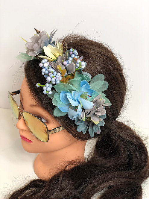 Blue & Lavender Floral Garland Crown Hair Wreath, Flower Headband, Boho Halo