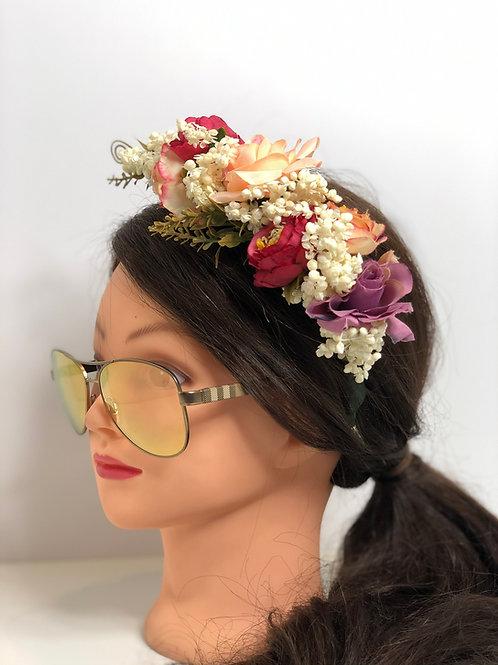 Floral Garland Crown Hair Wreath Flower Headband, Halo, Floral Headpiece