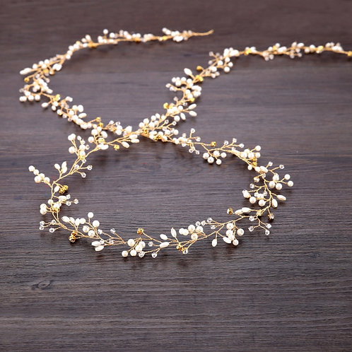 Gold Bohemian Headband | Gold, Pearl & Rhinestone Hair Vine | Wedding Hair