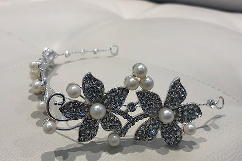 Silver Flower & Pearl Headband | Silver, Pearl & Rhinestone Hair Vine | Chain
