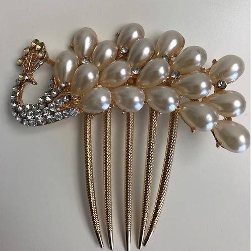 Peacock Gold, Rhinestone, & Pearl Hair Comb | Peacock Gold, Rhinestone, & Pearl