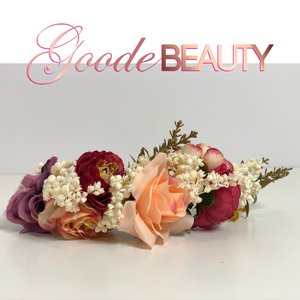 Peach, Pink and Rose Flower Crown, Halo Headband