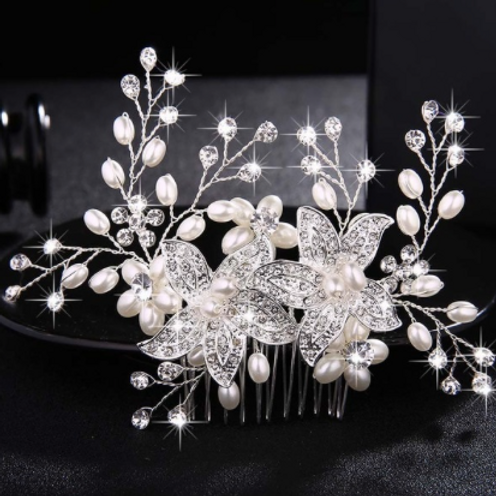 Silver Flower, Rhinestone, Pearl & Crystal Hair Comb | Silver Bridal Jewelry