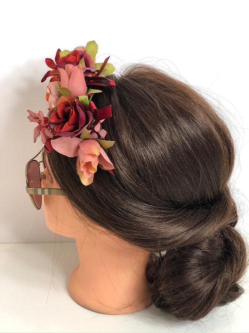 Rose & Wine Floral Garland Crown Hair Wreath, Flower Headband, Boho