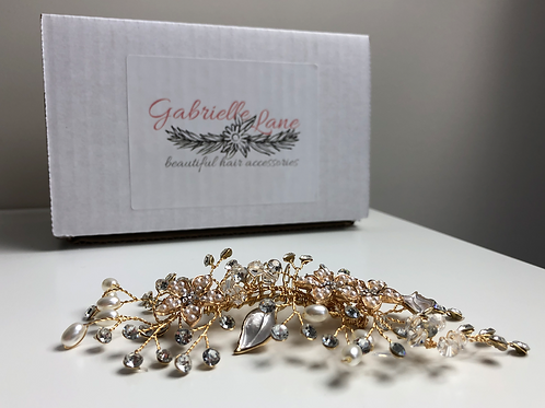 Gold Flower, Rhinestone, Pearl & Crystal Hair Comb | Gold Bridal Jewelry