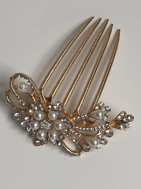 Gold, Rhinestone, & Pearl Hair Comb | Gold, Rhinestone, & Pearl Jewelry