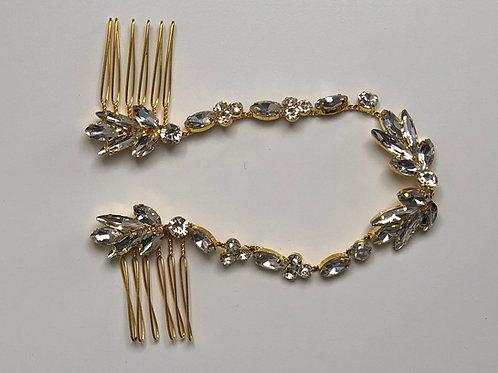 Gold Rhinestone Chain Headband Gold & Rhinestone Hair Chain Jewelry | Wedding