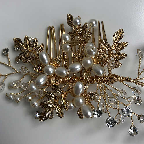Gold Flower, Rhinestone, & Crystal Hair Comb | Gold, Rhinestone, & Crystal Jewel